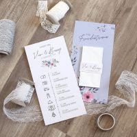 Programmpunkte der Hochzeit mit Taschentuch